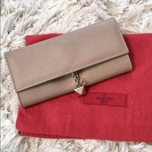 Valentino Saffiano Beige/Taupe Leather Wallet